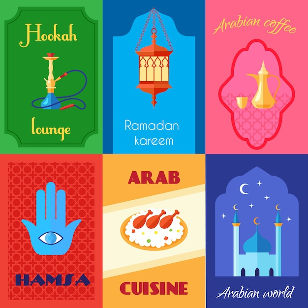 Arabic culture mini poster Free Vector