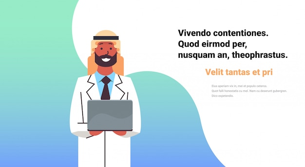 Arabic doctor hold laptop computer banner Premium Vector