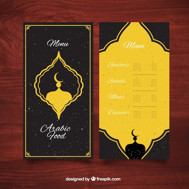 Arabic food menu with yellow ornament vector free download for Arabian cuisine menu