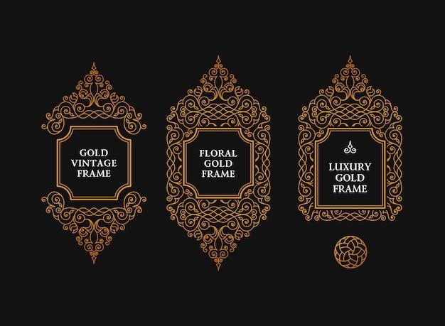 Арабские кадры художественные эмблемы Premium векторы