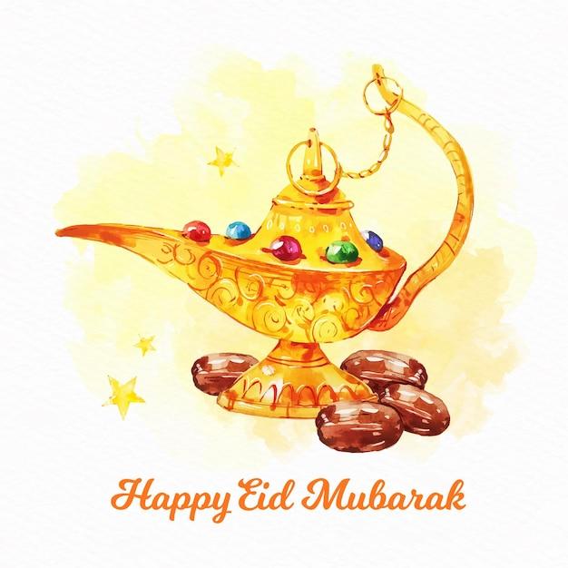 Genio arabo lampada dorata eid mubarak Vettore gratuito