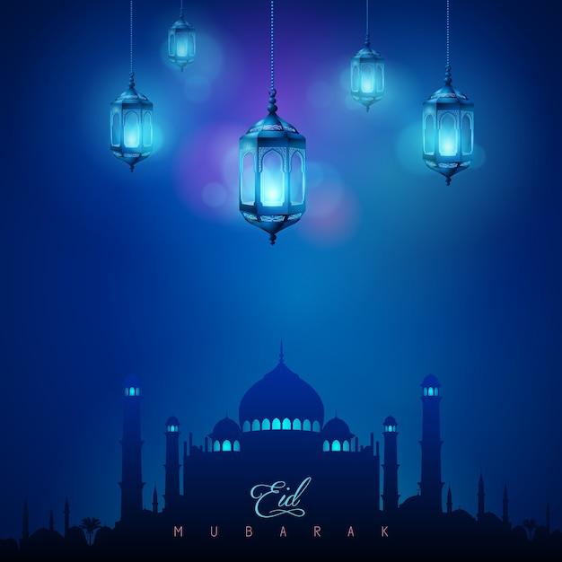 Arabic lamp and mosque islamic celebration greeting background eid arabic lamp and mosque islamic celebration greeting background eid mubarak premium vector m4hsunfo