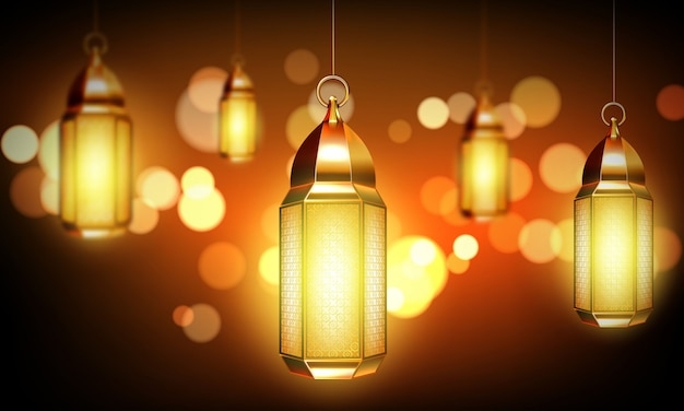 Arabic lamps, gold arab lanterns with ornament Free Vector