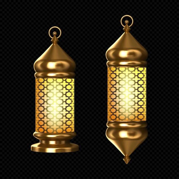 Lampade arabe, lanterne d'oro con ornamenti arabi, anello, candele accese. accessori per la festa islamica del ramadan. luci brillanti luminose d'annata di vettore 3d realistico isolate Vettore gratuito