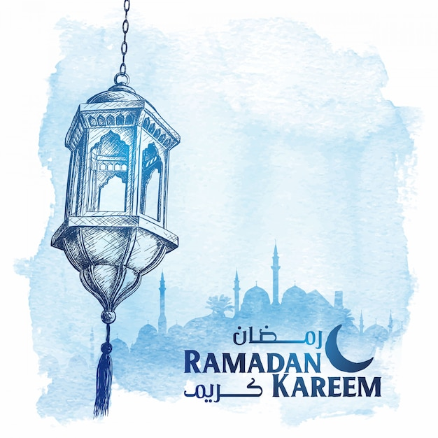 Эскиз арабский фонарь рамадан карим приветствие Premium векторы
