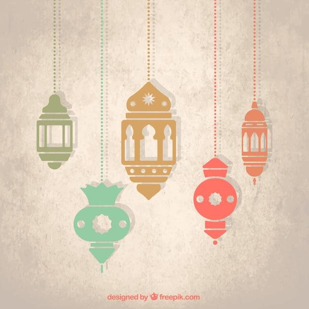 Arabic lanterns Free Vector