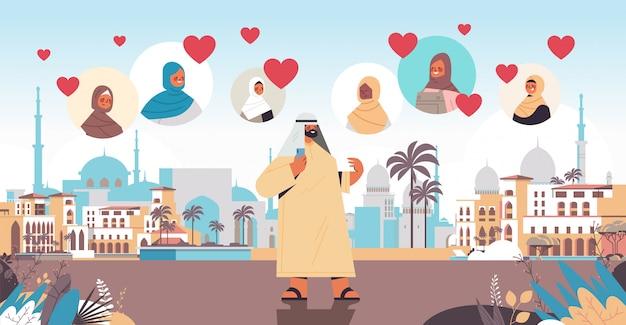 Premium Vector | Arabic man chatting with women in online