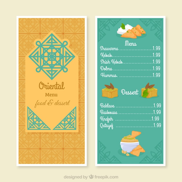 arabic menu template with oriental symbol vector free download