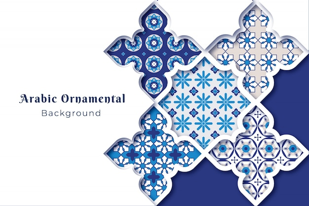Arabic ornamental background in paper style Free Vector