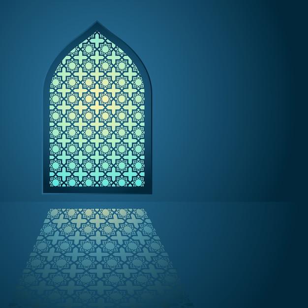 Arabic pattern on mosque window Premium Vector