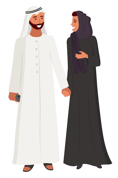 Arabic people couple man and woman wearing hijab Premium Vector