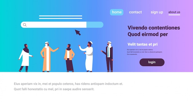 Arabic people over search online internet browsing web concept website bar graphic Premium Vector