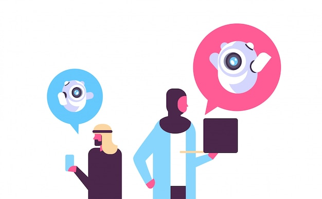 Arabic people with chatbot communication Premium Vector