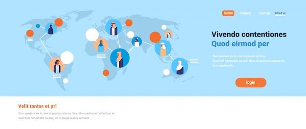 Arabic people on world map chat bubbles global communication arabian team Premium Vector