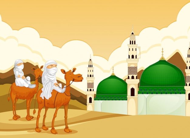 Arabic riding camel to mosque Free Vector