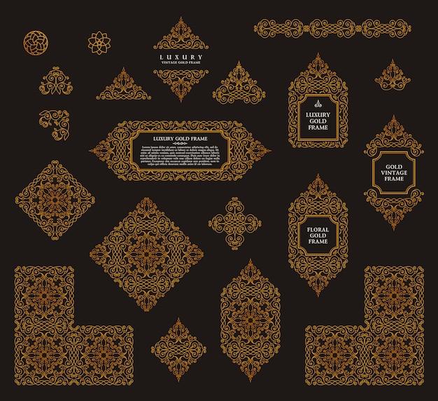 Arabic vector set of frames lines art design Premium Vector