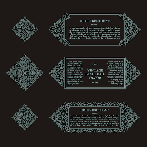 Arabic vector set of frames lines design templates Premium Vector