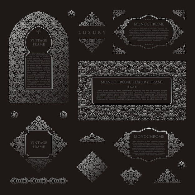 Arabic vector set frames muslim black outline elements Premium Vector