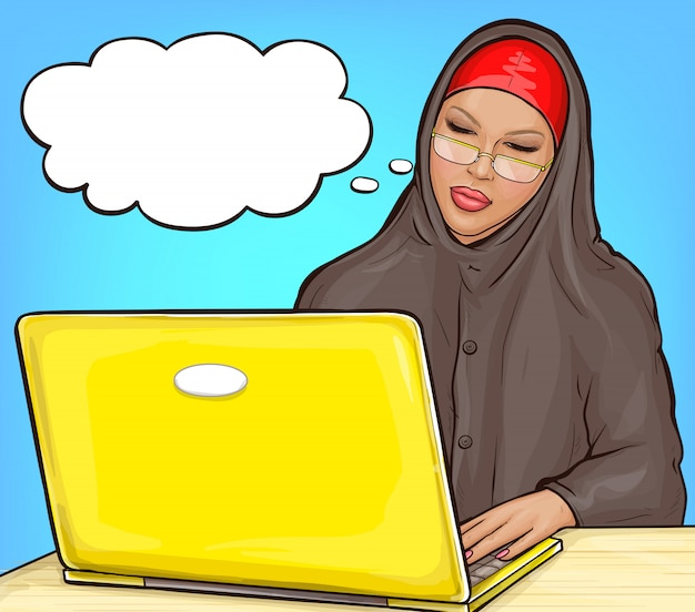 Arabic woman in hijab with laptop Free Vector