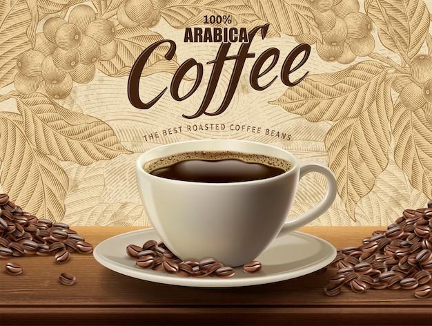 Реклама кофе арабика, реалистичный черный кофе и бобы на иллюстрации с ретро-кофейными растениями и полевыми пейзажами в стиле травления Premium векторы