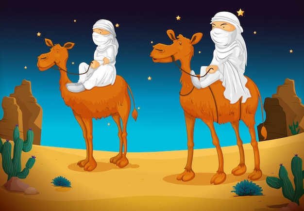 Arabs on camel Free Vector