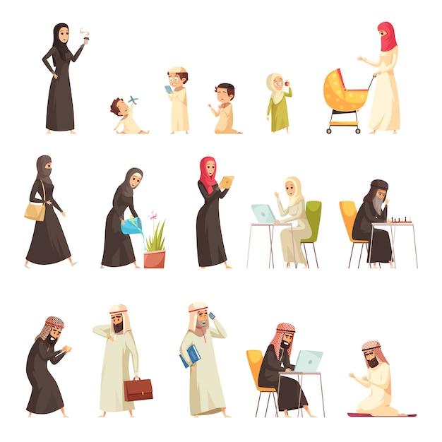 Набор иконок мультфильм семьи арабов Бесплатные векторы
