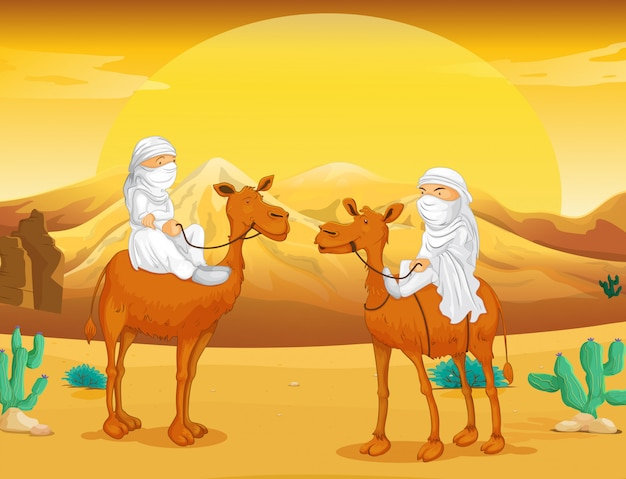 Arabs riding on camels at desert Free Vector