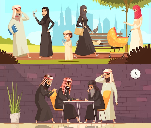 Arabs work family banners set Free Vector