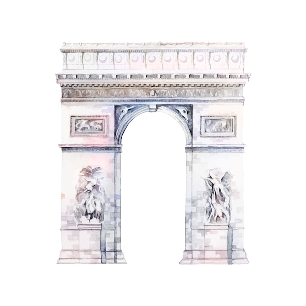Arc de triomphe in paris vector Free Vector