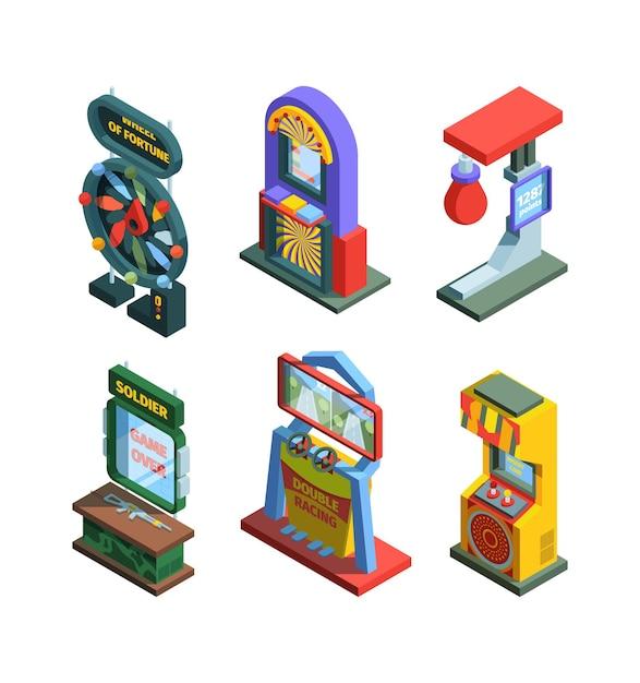 Набор изометрических тренажеров для игрового автомата. игровой автомат устройства для проверки силы удачи с приспособлениями джойстиков и экранов красочных ретро стационарных электронных консолей. Premium векторы