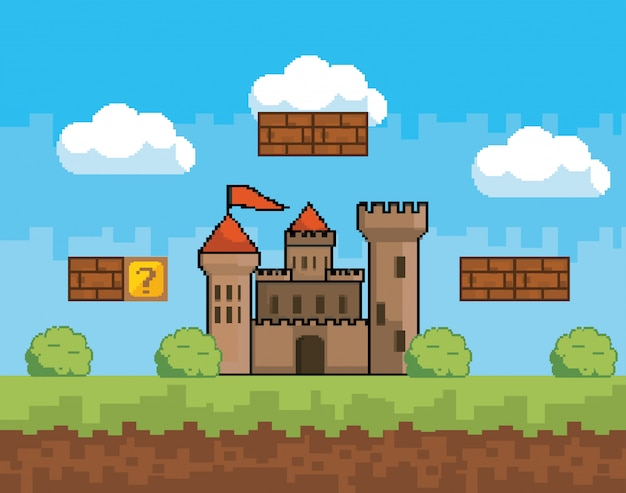 Arcade game world and pixel scene Free Vector