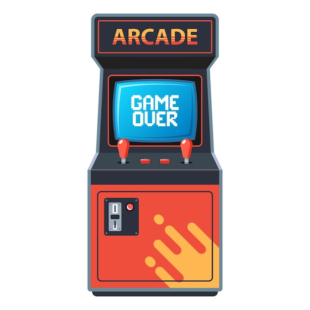 Arcade machine on a white background. Premium Vector