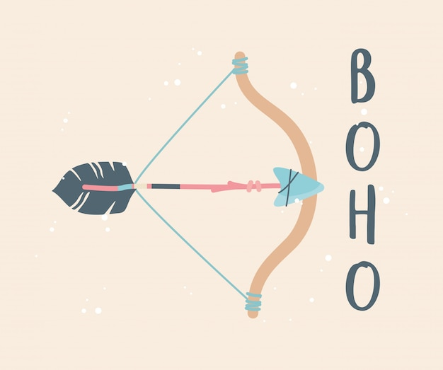 Arch and arrow decoration boho style Premium Vector