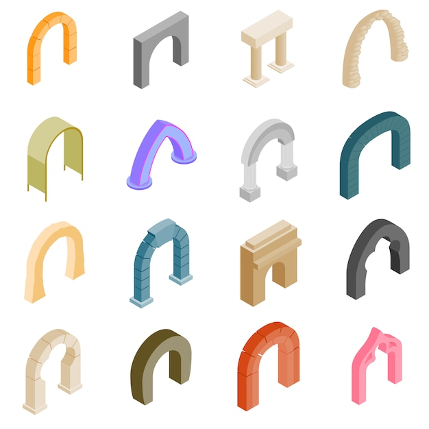 Arch set icons Premium Vector