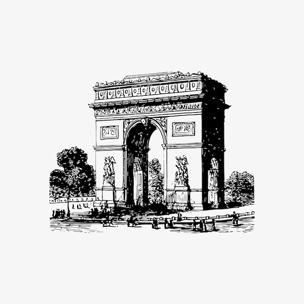 Arch of triumph in paris Free Vector