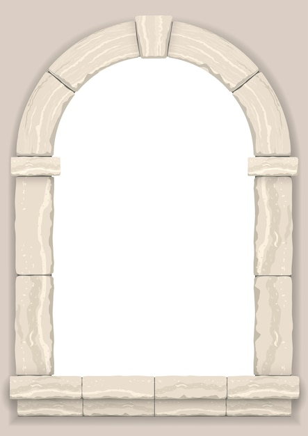 Arch in the wall of beige cut stone Premium Vector