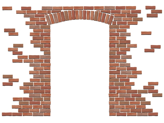 Arch in the wall of red brick. Premium Vector
