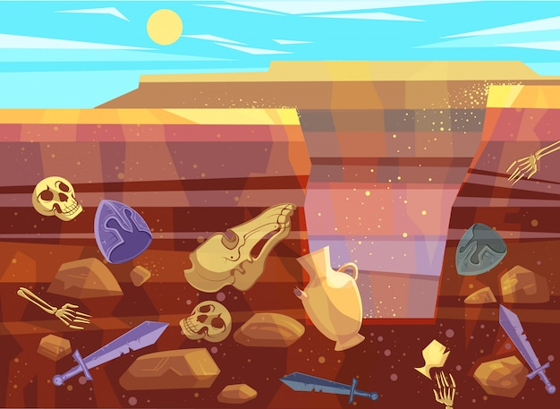 Archaeological excavations in desert landscape Free Vector