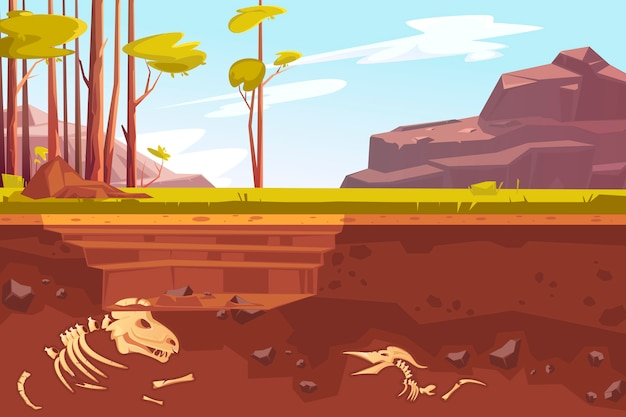 Archaeological excavations in natural landscape Free Vector