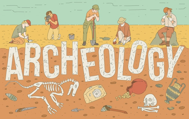 Archaeological exploration of historical artifacts illustration. Premium Vector