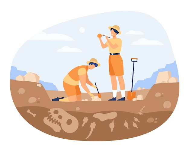 Archaeologist discovering dinosaurs remains. men digging ground in quarry and cleaning bones. vector illustration for archeology, paleontology, science, research Free Vector