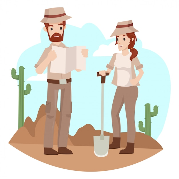 Archaeologist is discussing about underground treasure searches Premium Vector