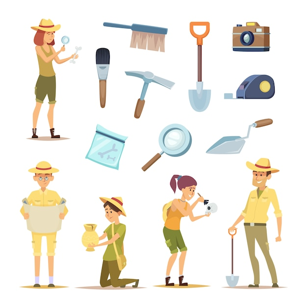 Archaeologists characters and various historical artifacts Premium Vector