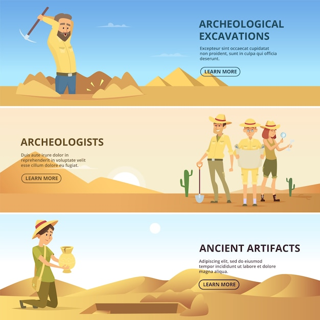 Archaeologists conduct excavations of historical values. horizontal banners. archaeologist and ancient artefacts. vector illustration Premium Vector