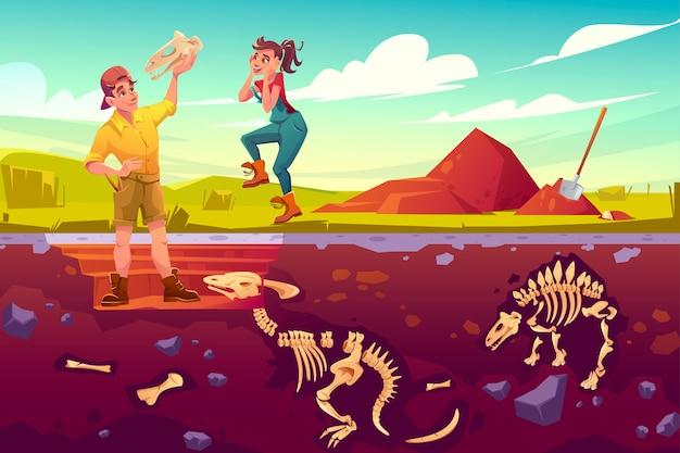 Археологи-палеонтологи радуются изучению артефакта черепа динозавров, ученые работают на раскопках, копают слои почвы, изучают кости ископаемых скелетов динозавров, мультфильм векторные иллюстрации Бесплатные векторы