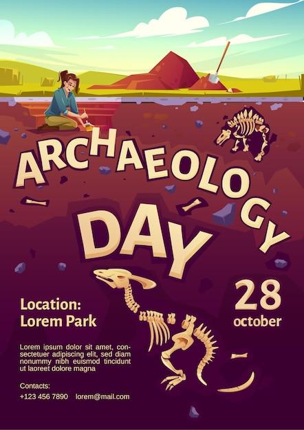 Manifesto del giorno dell'archeologia con esploratore donna sul sito di scavo e dinosauri sepolti Vettore gratuito
