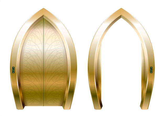 Arched doors of the elevator Premium Vector