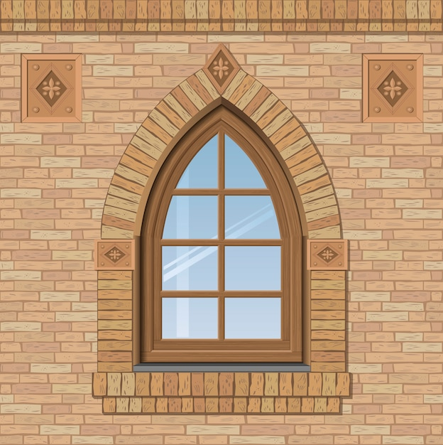 Arched old window Premium Vector