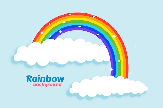 Arched rainbow with clouds background Free Vector