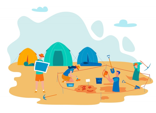 Archeological expedition flat vector illustration Premium Vector